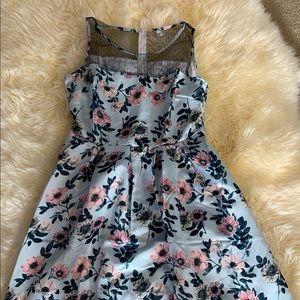 Retro floral blue dress XL
